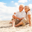 Sweet elderly people enjoy the sea breeze — Stock Photo