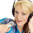 Honey blonde in  headphones  — Stock Photo