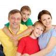Charming family in bright T-shirts — Stock Photo