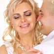 Adorable bride with her groom — Stock Photo