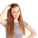 Fine girl in a leopard jacket — Stock Photo #32399371