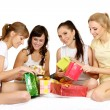 Girl with gifts — Stock Photo