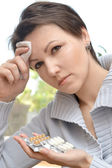 Woman feels malaise — Stock Photo