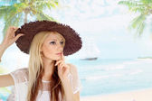 Amusing blonde in the resort — Stock Photo