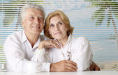 Beautiful old people at the resort — Stock Photo