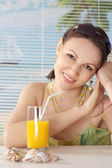 Cute girl with juice — Stock Photo