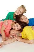 Vriendelijke familie van vier personen — Stockfoto