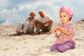 Regular pleasant weekend spent with their granddaughter — Stock Photo