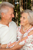 Glorious elderly couple in the forest — Stock Photo