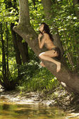 Attractive lady with a loincloth — Stock Photo