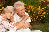 Thoughtful elderly couple in the park — Stock Photo