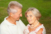 Loving elderly couple went to the nature — Stock Photo