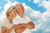 Happy elderly couple went for a walk — Stock Photo