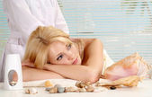 Glorious blonde in the resort — Stock Photo