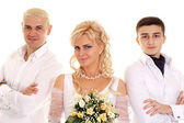 Beauteous bride with her groom and witness — Stock Photo