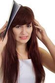 Unavená bruneta v přísné šatech na bílém pozadí — Stock fotografie