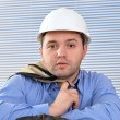 Confident handyman in studio  — Stock Photo
