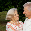 Sweet elderly couple  in the garden — Stock Photo