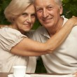 Good elderly couple sitting on veranda — Stock Photo #32401047