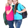 Girls with backpacks — Zdjęcie stockowe