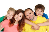 Happy family of four people — Stok fotoğraf