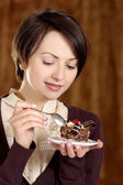 Happy woman and cake — Stock Photo