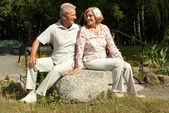 Söt äldre par i trädgården — Stockfoto