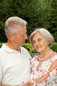 Glorious elderly couple in the park — Stock Photo