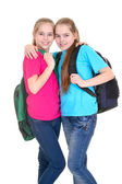 Girls with backpacks — Stock Photo