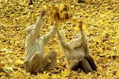 Bejaarde echtpaar gooien geel verlaat — Stockfoto