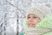 Happy little girl in winter — Stock Photo