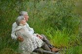 Senior koppel in park — Stockfoto