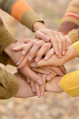 Family hands together — Stock Photo