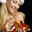 Attractive lady dressed as Santa  — Stock Photo