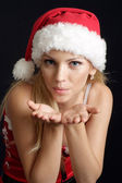 Interesting woman dressed as Santa — Stock Photo