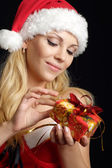 Glorious woman dressed as Santa — Stock Photo