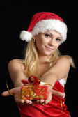 Glad woman dressed as Santa — Stock Photo