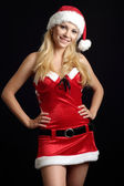 Amusing woman dressed as Santa — Stock Photo