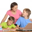 Happy family on the computer. — Stock Photo