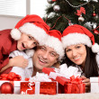 Family with christmas gifts — Foto de Stock