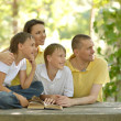 Reading family — Stock Photo