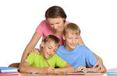 Mother and sons are drawing — Stock Photo