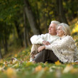 Old people sitting in the autumn park — Стоковая фотография