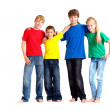 Happy children in bright T-shirt  — Stock Photo
