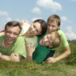 Happy family of four — Foto de Stock