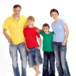 United family in bright T-shirts — Stock Photo
