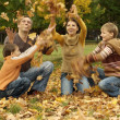 Beautiful family throw autumn leaves — Stock Photo #34135243