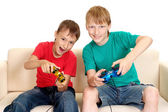 Cool boys in bright T-shirts — Stock Photo