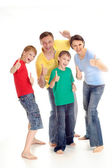 Tops family in bright T-shirts — Stock Photo