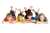 Clever children in bright T-shirt — Stock Photo